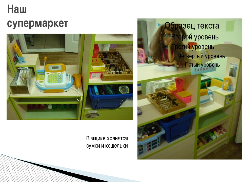 Наш супермаркет В ящике хранятся сумки и кошельки
