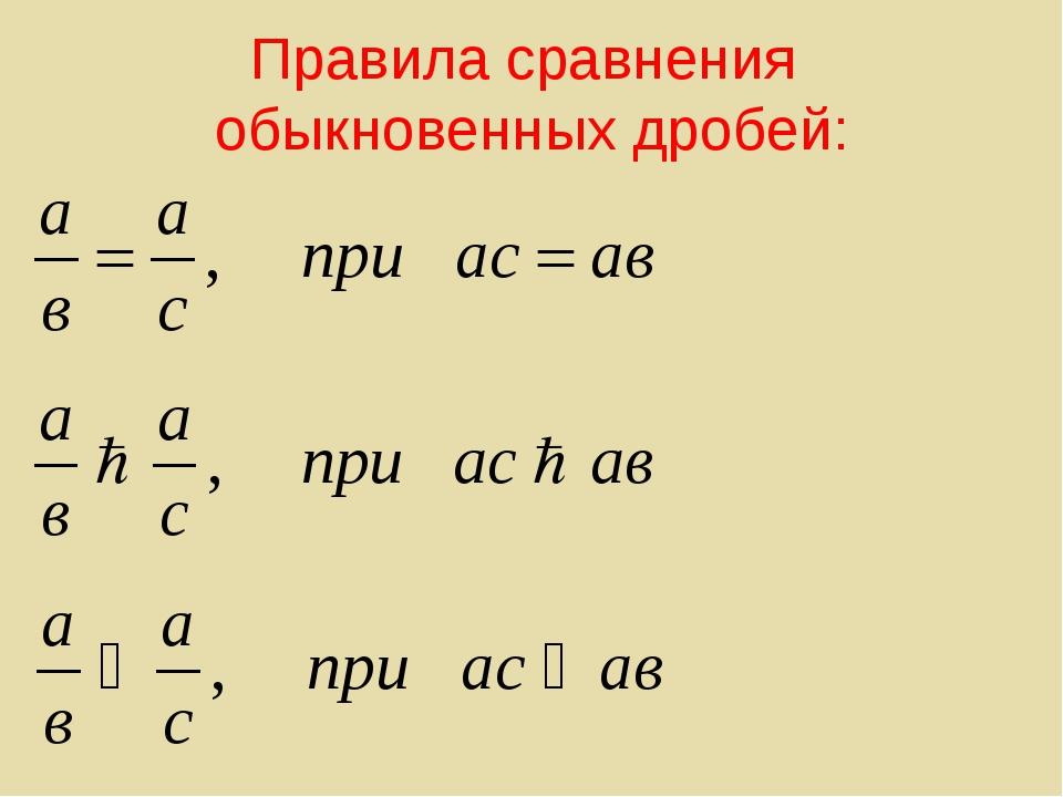 Правила сравнения обыкновенных дробей: