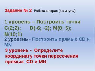 Задание № 2 Работа в парах (4 минуты) 1 уровень – Построить точки С(2;2); D(-
