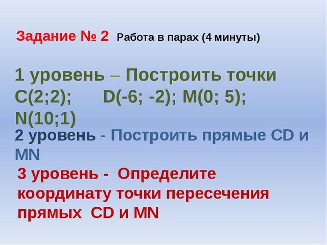 Задание № 2 Работа в парах (4 минуты) 1 уровень – Построить точки С(2;2); D(-...