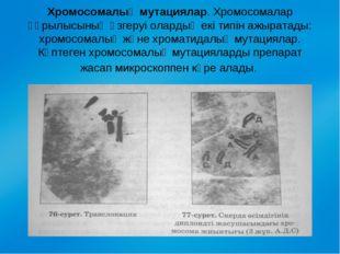 Хромосомалық мутациялар. Хромосомалар құрылысының өзгеруі олардың екі типін