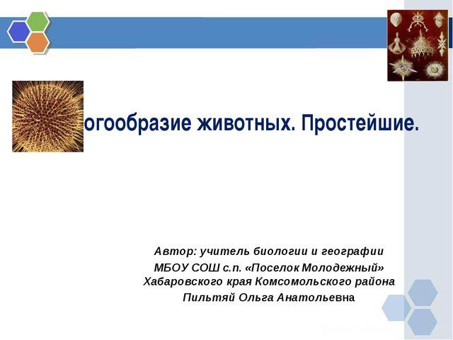 Многообразие животных. Простейшие. Автор: учитель биологии и географии МБОУ С...