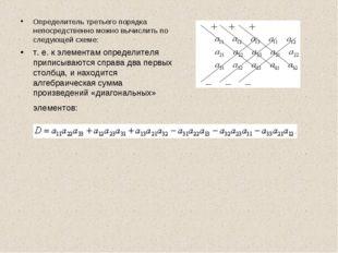 Определитель третьего порядка непосредственно можно вычислить по следующей сх
