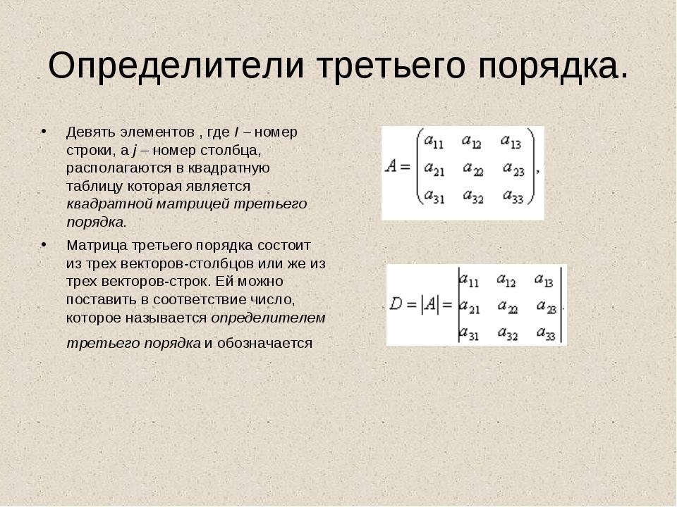 Определители третьего порядка. Девять элементов , где I – номер строки, а j –...