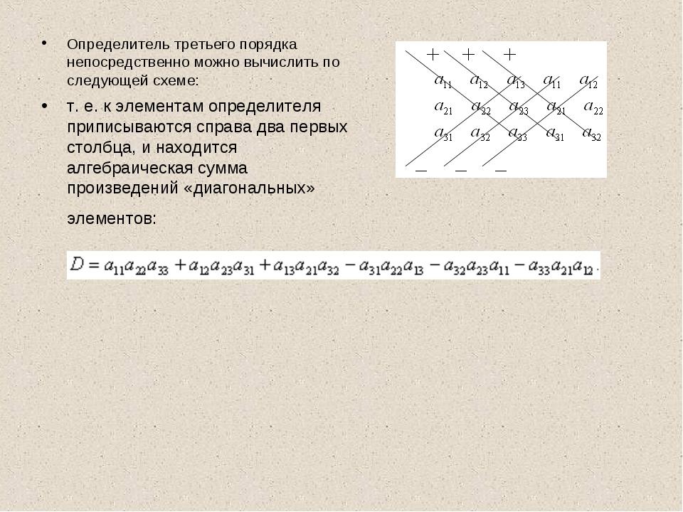 Определитель третьего порядка непосредственно можно вычислить по следующей сх...
