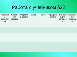 Работа с учебником §22 Название семействаЖизненная формаФормула цветкаплод
