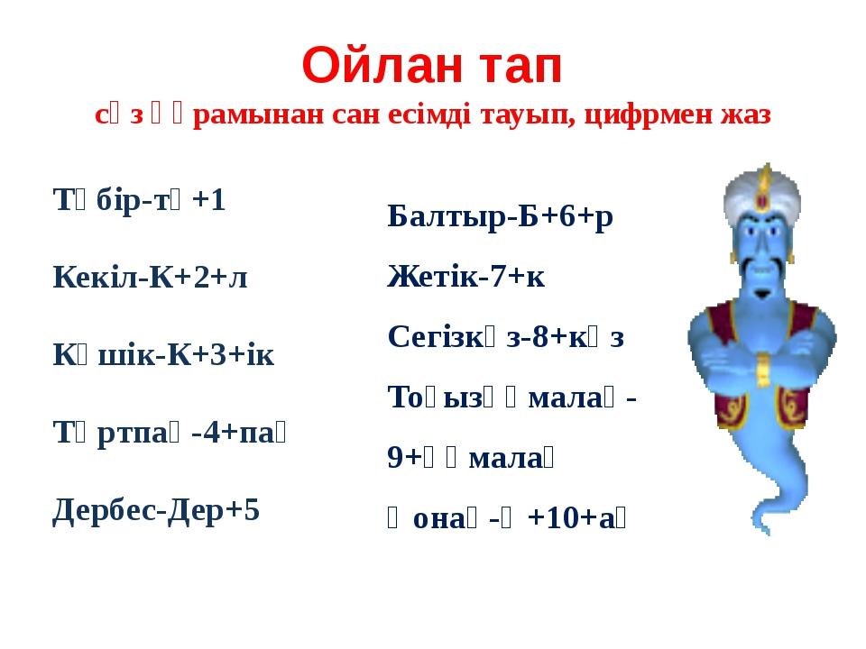 Ойлан тап сөз құрамынан сан есімді тауып, цифрмен жаз Түбір-тү+1 Кекіл-К+2+л...