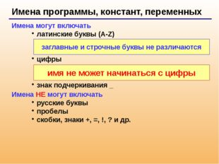 Имена программы, констант, переменных Имена могут включать латинские буквы (