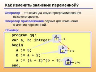 Как изменить значение переменной? Оператор – это команда языка программирова