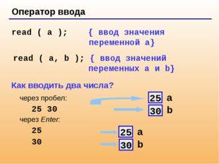 Оператор ввода read ( a ); { ввод значения переменной a} read ( a, b ); { вв