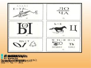 а) Условие (весло — и — е); б) начало (на — ча — ло); в) вывод (в — ы — в — о