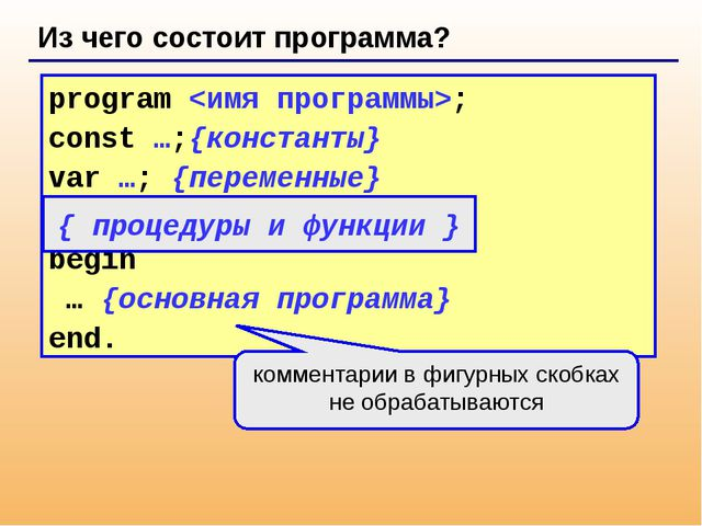 Из чего состоит программа? program ; const …;{константы} var …; {переменные}...