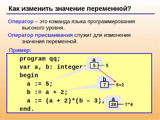 Как изменить значение переменной? Оператор – это команда языка программирова...