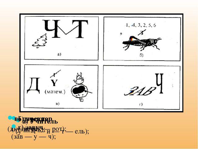 а) Учитель (у — ч — и — т — ель); б) ученик (кузнечик); в) директор (д — игре...