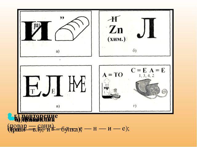 а) Развилка (раз — в — и — булка); б) цикл (цинк — л); в) ветвление (в — е —...