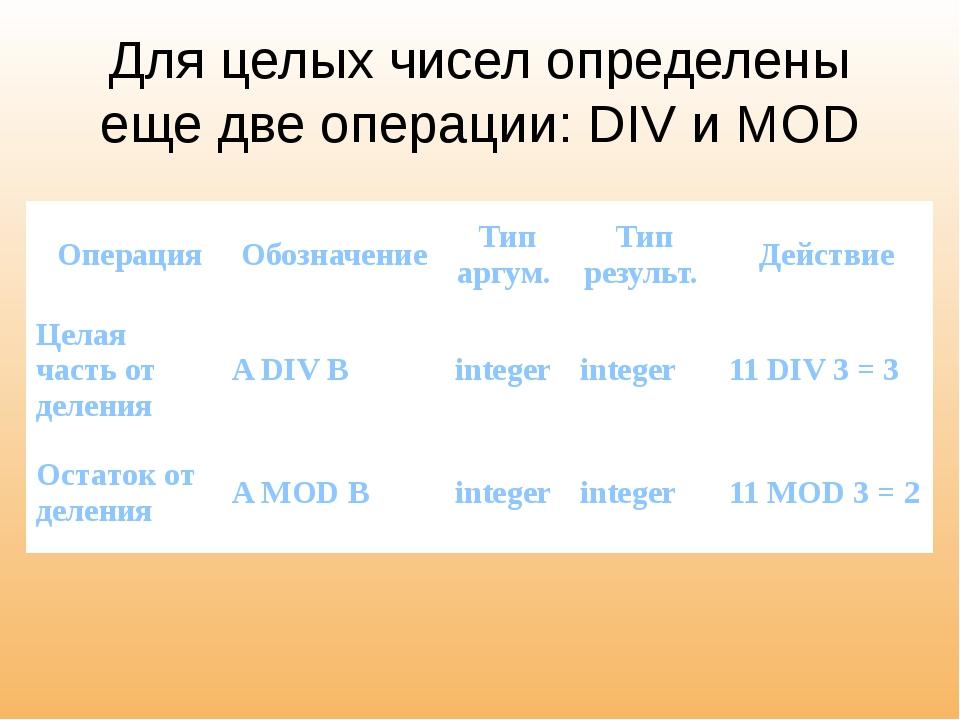 Для целых чисел определены еще две операции: DIV и MOD Операция Обозначение Т...
