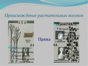 Происхождение растительных волокон Пряжа