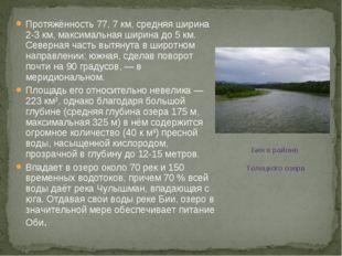 Протяжённость 77, 7 км, средняя ширина 2-3 км, максимальная ширина до 5 км. С