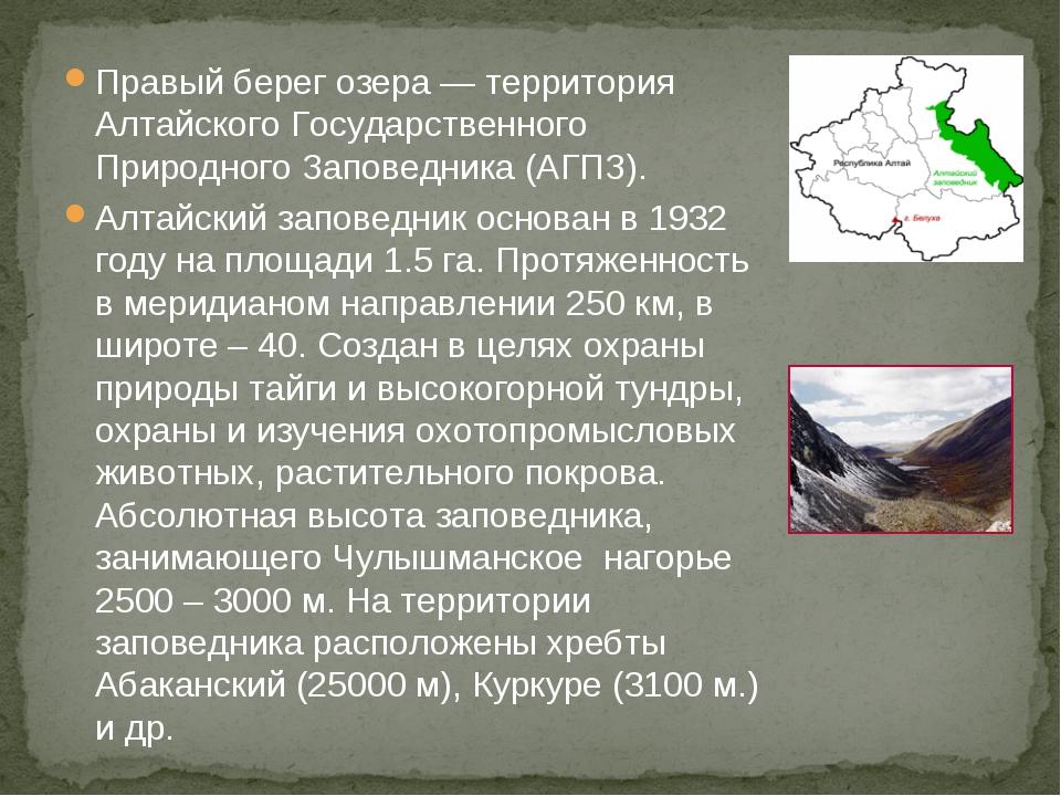 Правый берег озера — территория Алтайского Государственного Природного Запове...