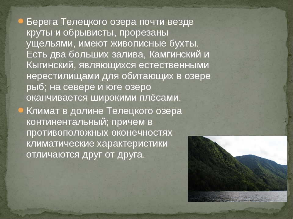 Берега Телецкого озера почти везде круты и обрывисты, прорезаны ущельями, име...