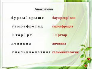 Анаграмма б у р а ы ғ о р ы ш с бауырсорғыш г е м р а ф р о т и д гермафроди