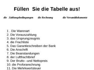 Füllen Sie die Tabelle aus! 1 . Die Warenart 2. Die Vorauszahlung 3. das Ursp