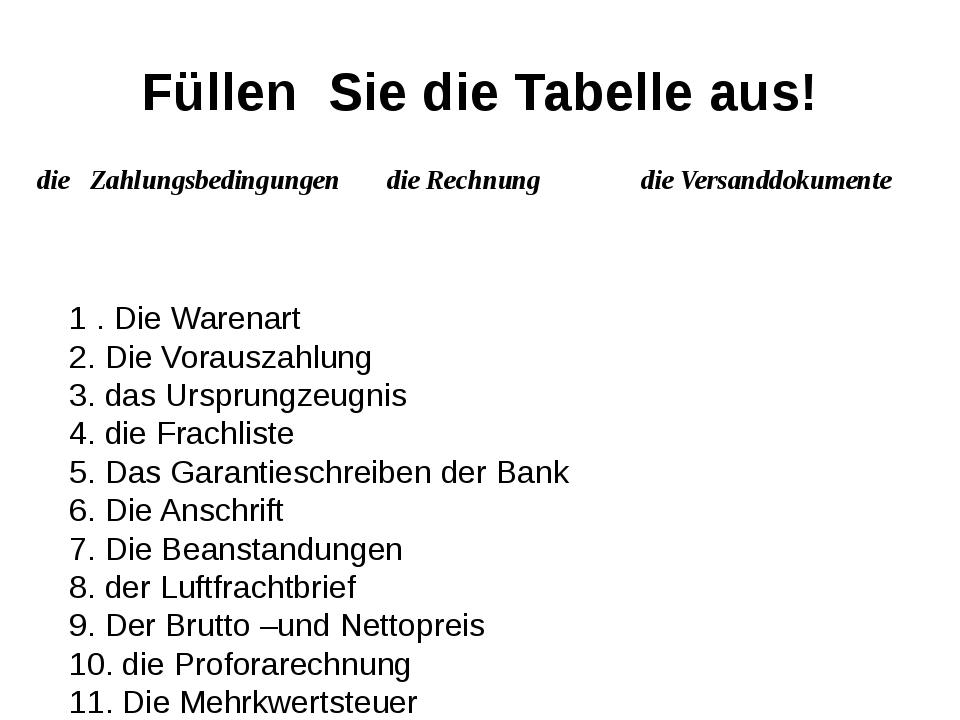 Füllen Sie die Tabelle aus! 1 . Die Warenart 2. Die Vorauszahlung 3. das Ursp...