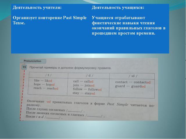 Деятельность учителя: Организует повторениеPast Simple Tense. Деятельность у...