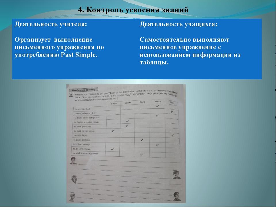 4. Контроль усвоения знаний Деятельность учителя: Организуетвыполнениeписьме...