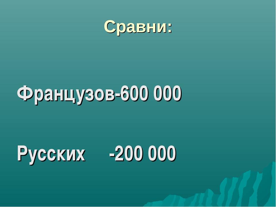 Сравни: Французов-600 000 Русских -200 000