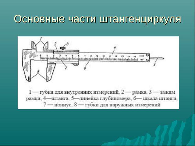 Основные части штангенциркуля