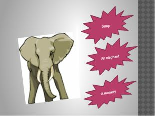 Jump An elephant A monkey
