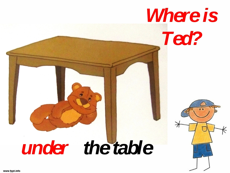 Where is Ted? the table under