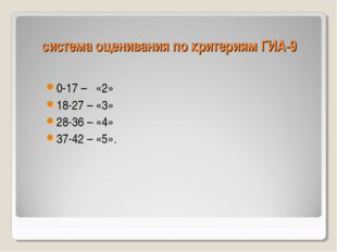 система оценивания по критериям ГИА-9 0-17 – «2» 18-27 – «3» 28-36 – «4» 37-4