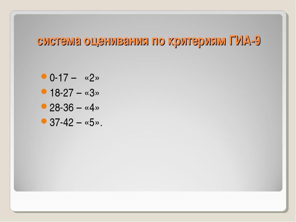 система оценивания по критериям ГИА-9 0-17 – «2» 18-27 – «3» 28-36 – «4» 37-4...