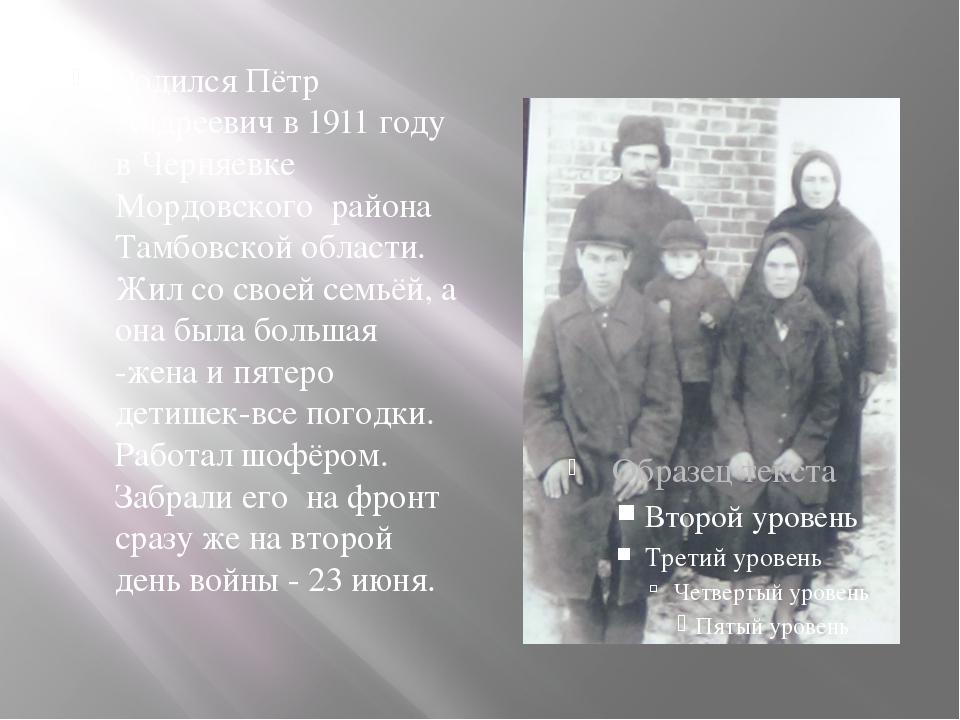 Родился Пётр Андреевич в 1911 году в Черняевке Мордовского района Тамбовской...