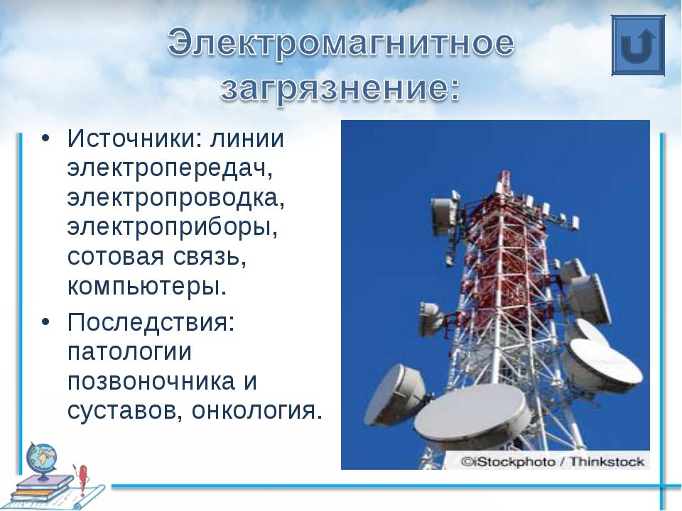Источники: линии электропередач, электропроводка, электроприборы, сотовая свя...