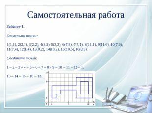 Задание 1. Отметьте точки: 1(1,1), 2(2,1), 3(2,2), 4(3,2), 5(3,3), 6(7,3), 7
