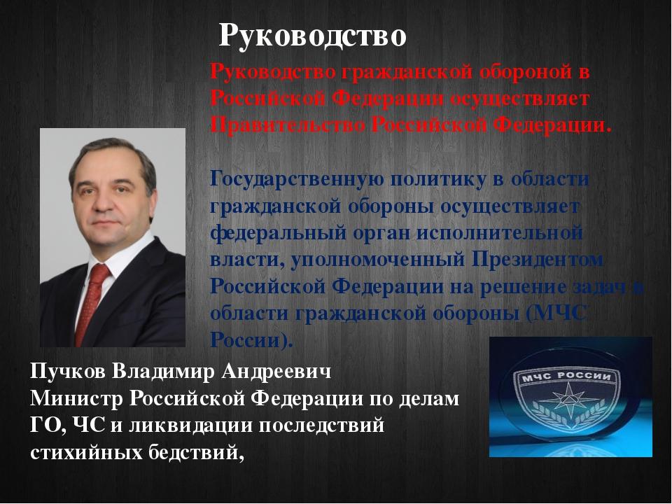 Руководство Руководство гражданской обороной в Российской Федерации осуществл...
