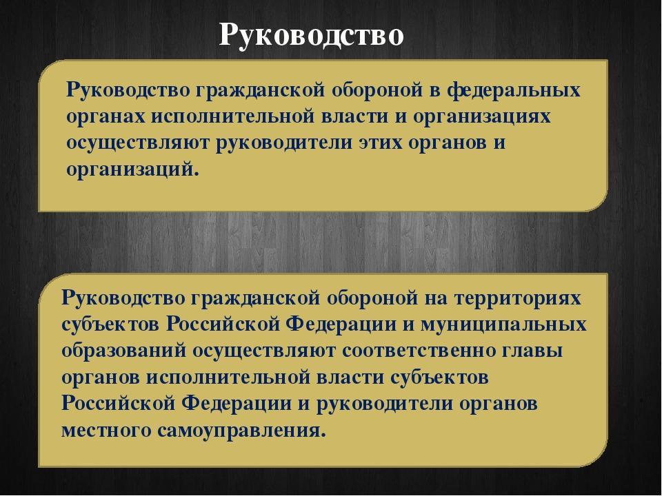 Руководство Руководство гражданской обороной в федеральных органах исполнител...