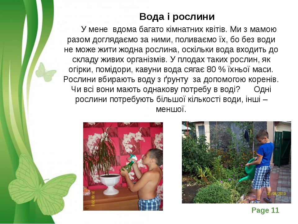 Вода і рослини У мене вдома багато кімнатних квітів. Ми з мамою разом догля...