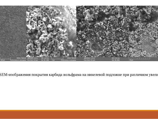 Рис. 8 SEM-изображения покрытия карбида вольфрама на никелевой подложке при р...