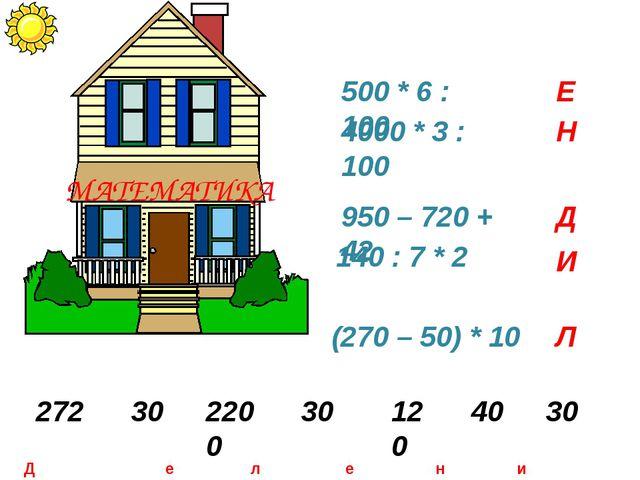500 * 6 : 100 4000 * 3 : 100 950 – 720 + 42 140 : 7 * 2 (270 – 50) * 10 Е Н Д...