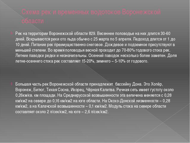 Схема рек и временных водотоков Воронежской области Рек на территории Воронеж...