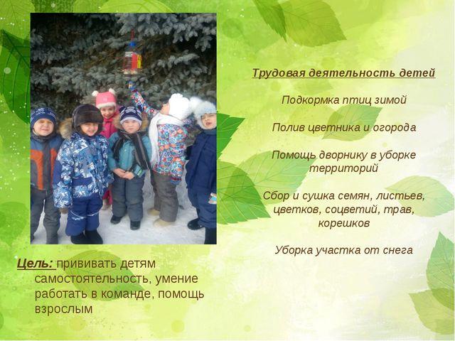 Цель: прививать детям самостоятельность, умение работать в команде, помощь вз...