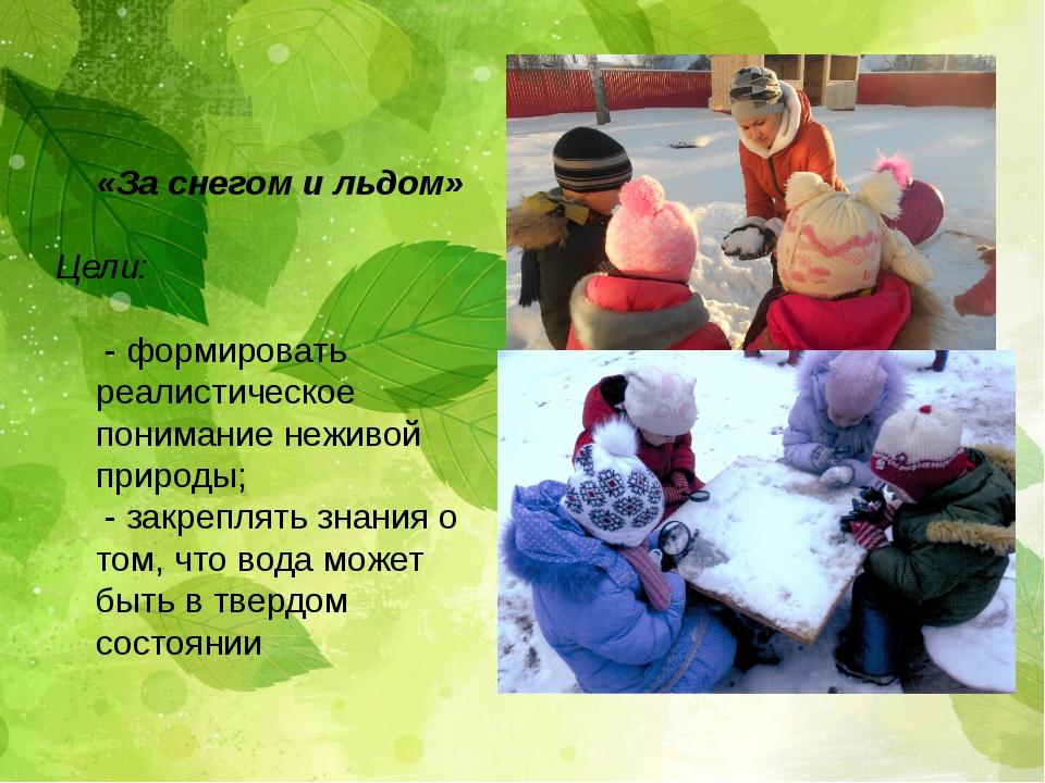 «За снегом и льдом» Цели: - формировать реалистическое понимание неживой при...