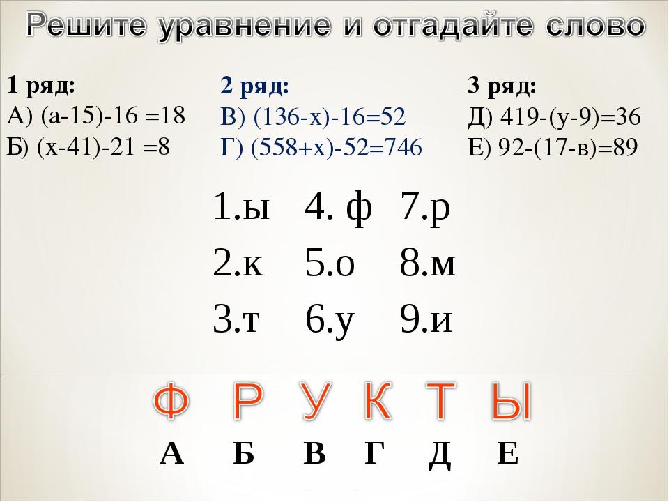 2 ряд: В) (136-х)-16=52 Г) (558+х)-52=746 1 ряд: А) (а-15)-16 =18 Б) (х-41)-2...