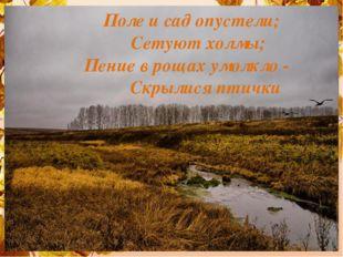 Поле и сад опустели; Сетуют холмы; Пение в рощах умолкло - Скрылися птички