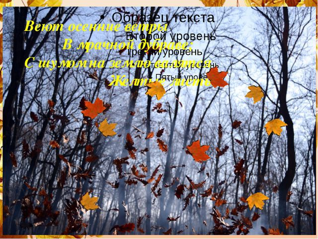 Веют осенние ветры В мрачной дубраве; С шумом на землю валятся Желтые листья