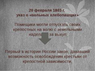 20 февраля 1803 г. указ о «вольных хлебопашцах» Помещики могли отпускать свои